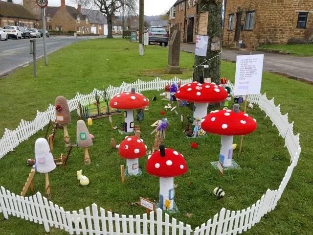 yarn bombed fairy garden