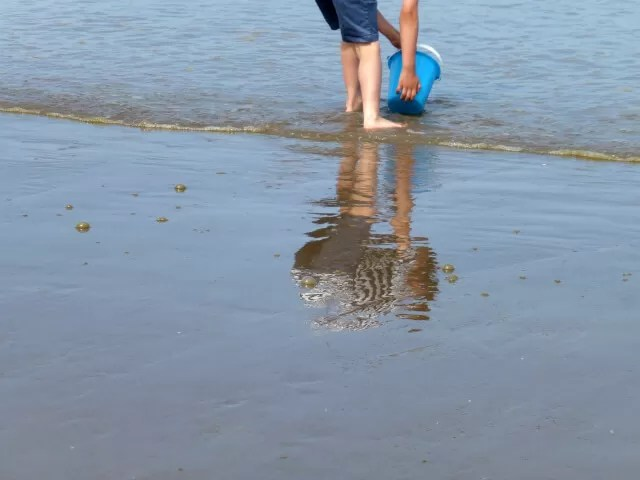 collecting water on the beach reflection - Bubbablue and me