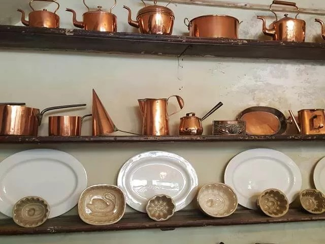 copper kitchen ware.