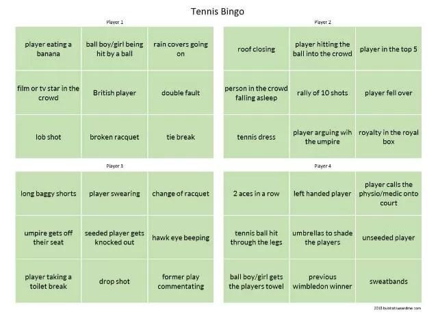 tennis bingo