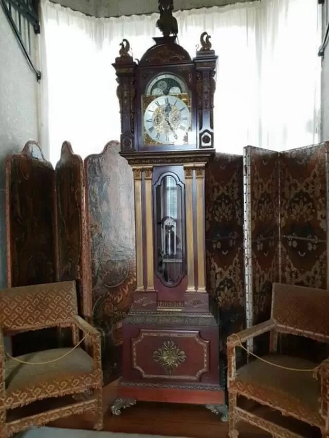 grandfather clock at castle drogo