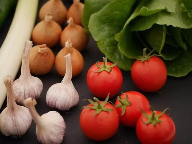 vegetables showing