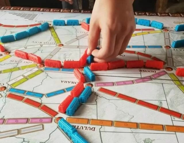 Family time with Ticket to Ride board game
