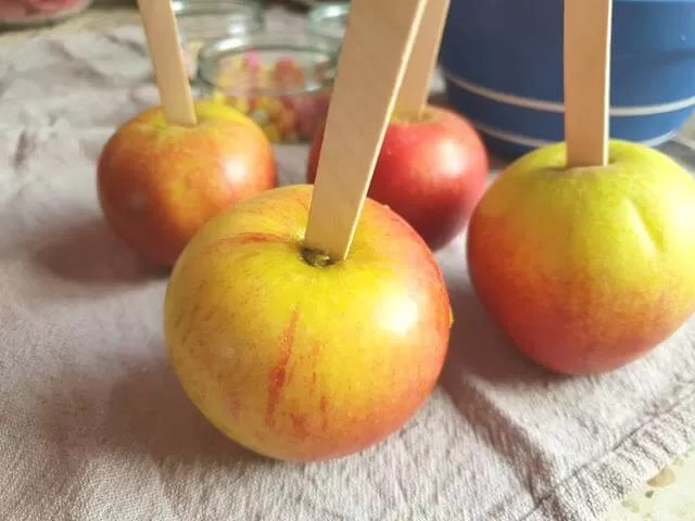 apples with lolly sticks