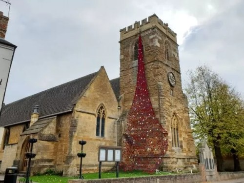 Shipston poppy display falling from the church