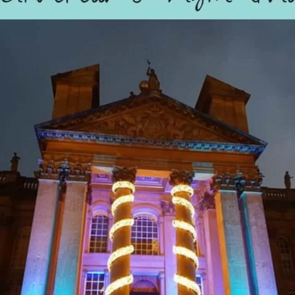 Blenheim Palace Christmas light show with Cinderella in the palace