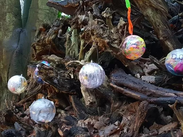 bauble decorations on woodland trail