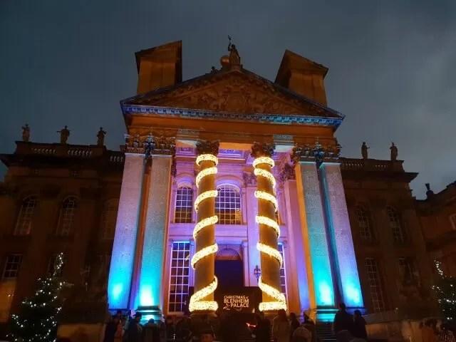 blenheim palace front lit up at dusk