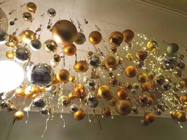 gold bauble display on waddesdon ceiling