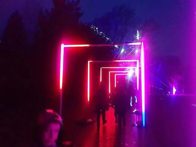 lit up square walk