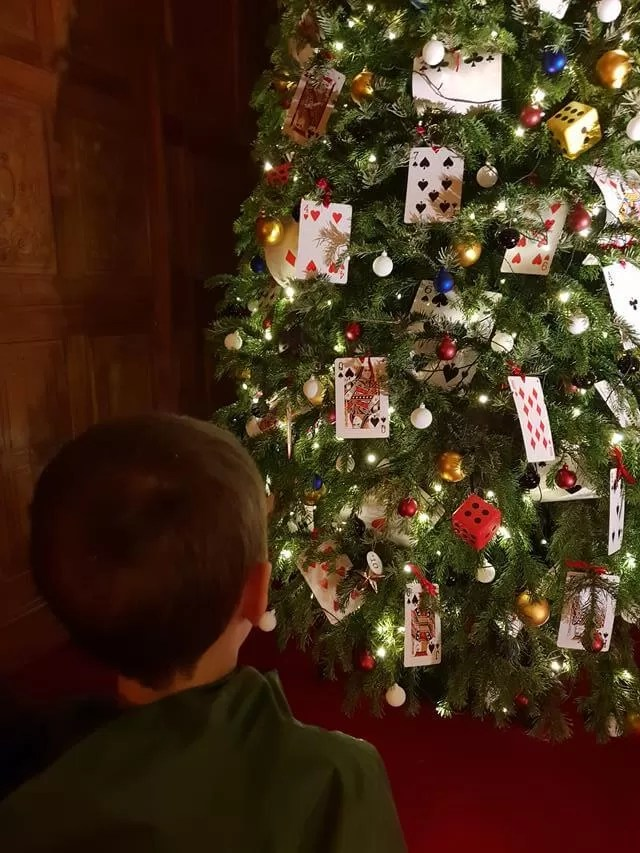 playing card decorations on a tree