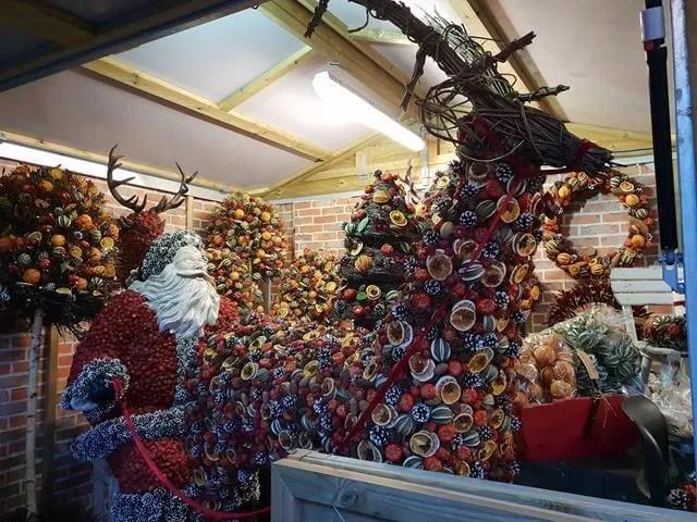 santa and reindeer fruit display