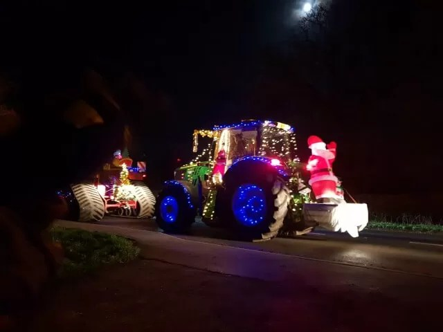 tractor with santa on