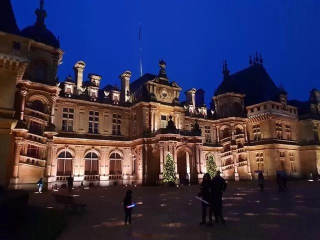 waddesdon manor frontage lit up