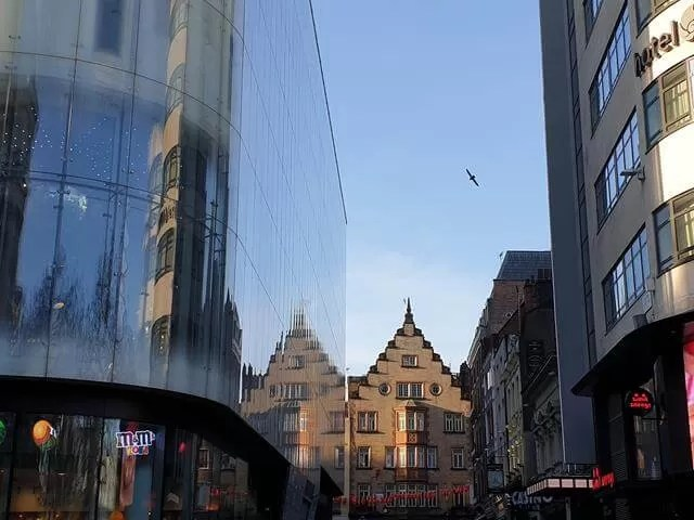 reflections in leicester square buildings