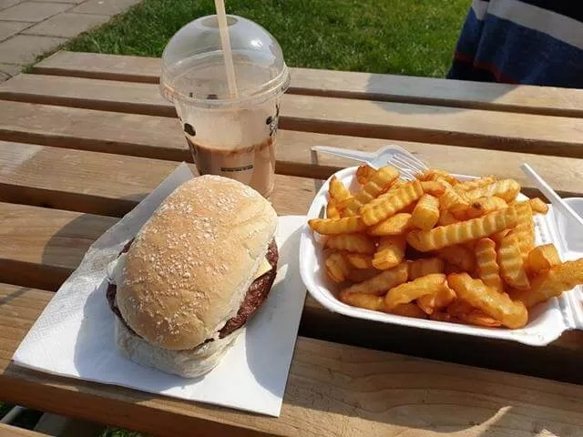 beefburger and fries near the beach at whitby