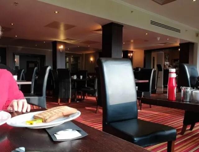 hotel restaurant at breakfast