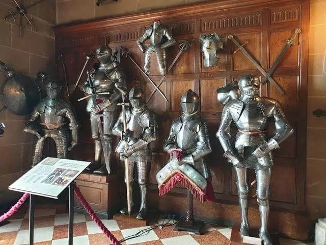 armour on display at warwick castle