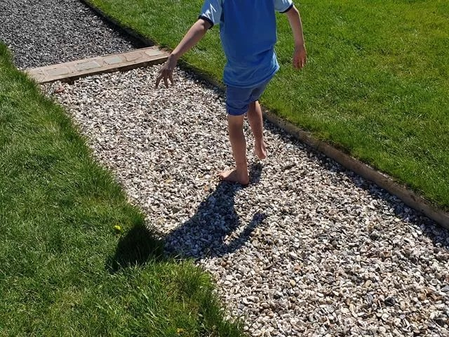 boy on the barefoot walk