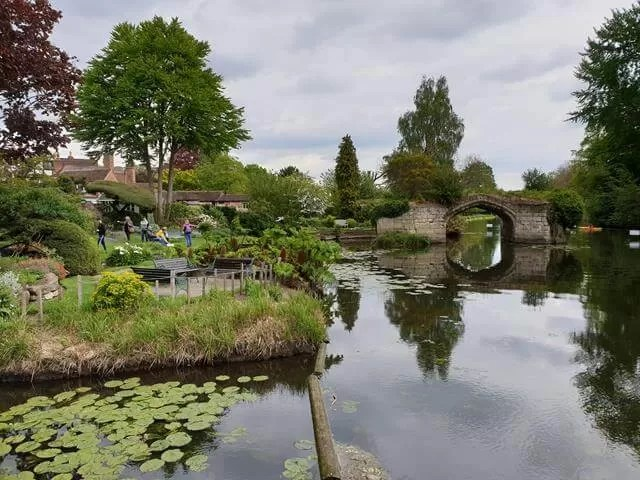 over looking mill house garden and river