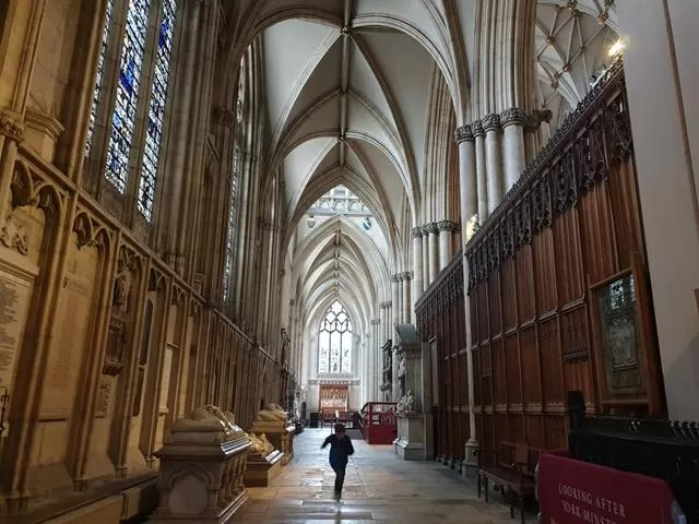 vaulted ceilings and corridor in york minster