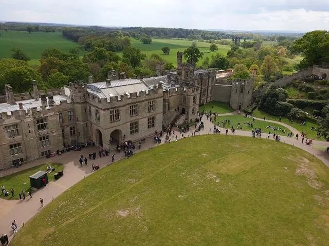 view of warwick castle from the tower