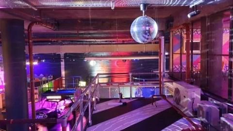 disco ball at junkyard golf