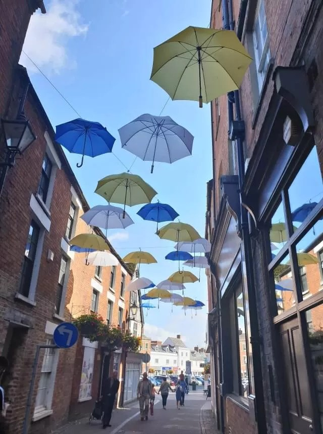 umbrellas displays in shopping street Banbury