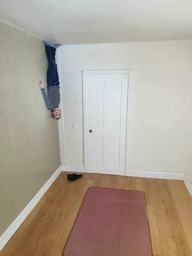 hanging upside down illusion.