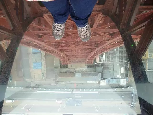 looking down from the tower