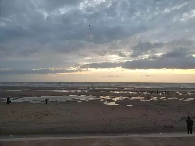 sunset over the sea at blackpool