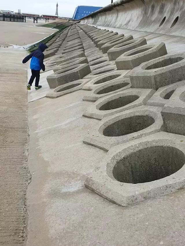 walking the blackpool hexagon beach defences.