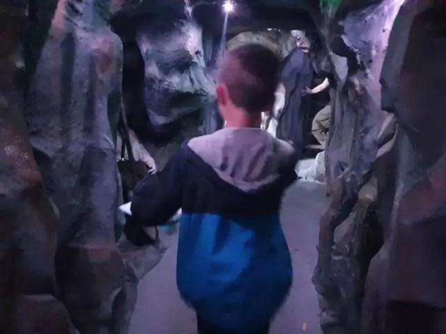 walking through a graphite mine
