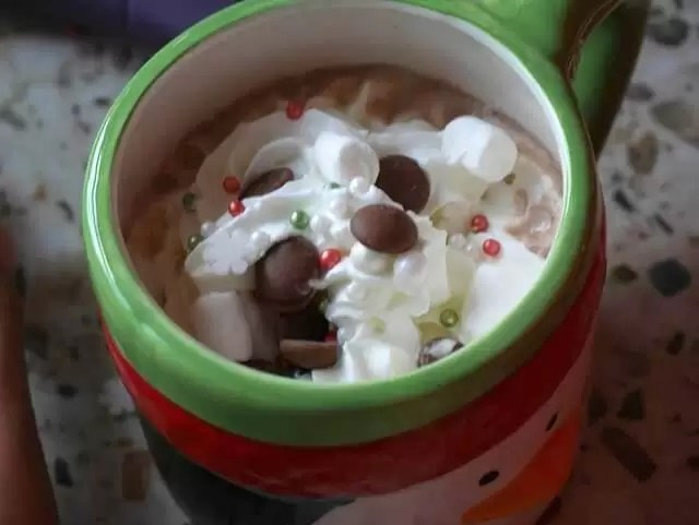 hot chocolate with cream and toppings