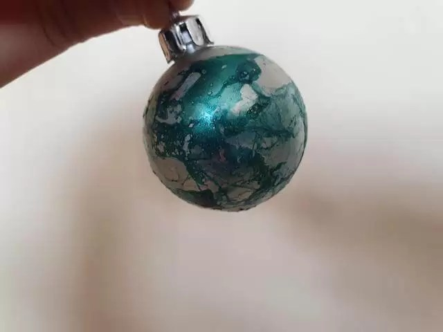 bauble with green marbling
