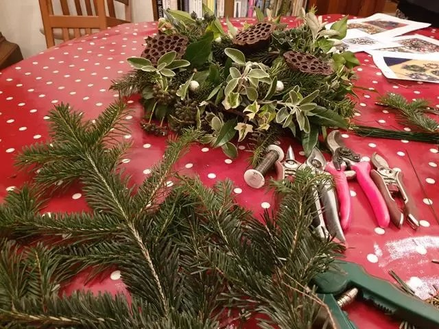 christmas tree branches for wreath making