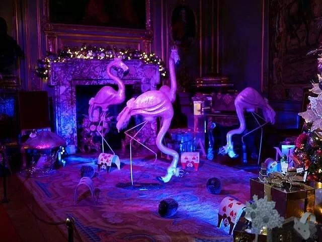 flamingos christmas display blue and purple lighting