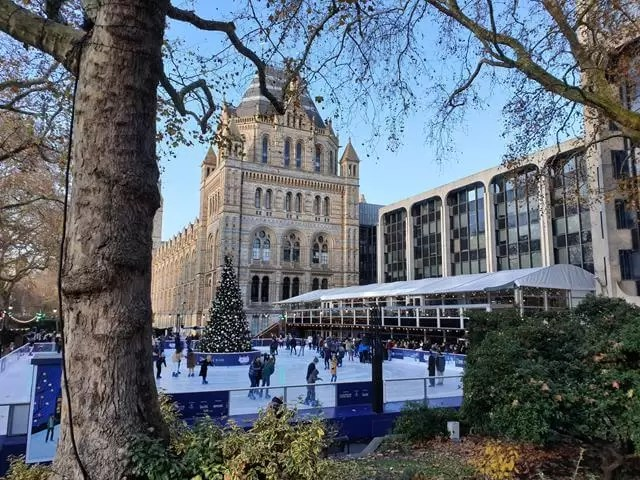 ice skating at the front of Natural History Museum