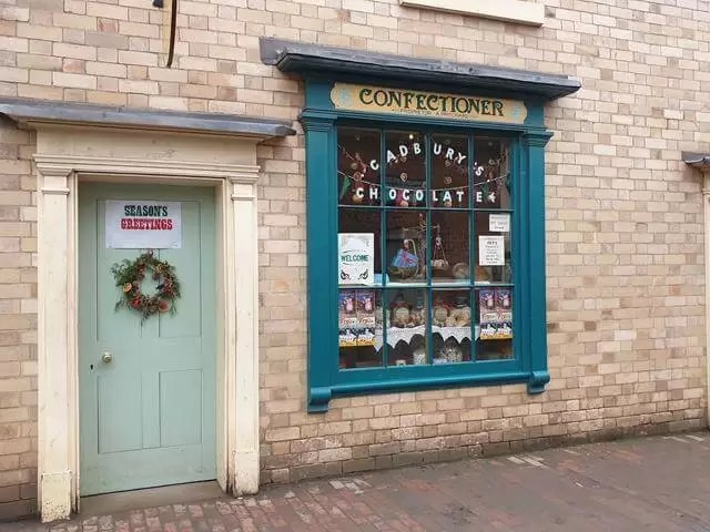 door and window to victorian confectionery shop