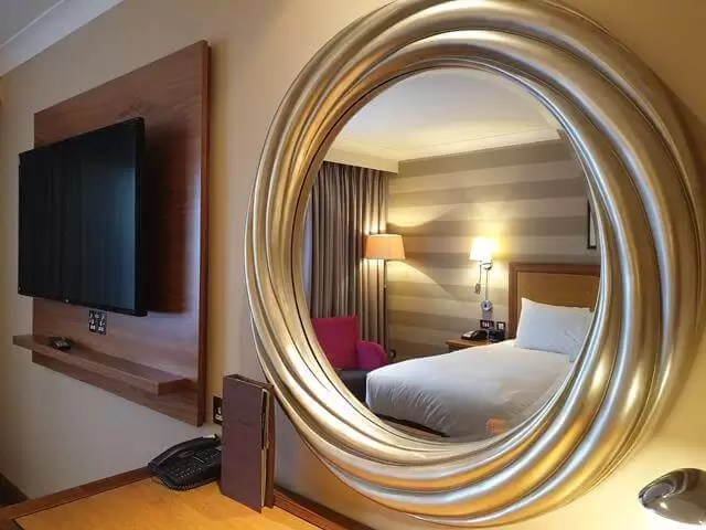 hotel bedroom reflection