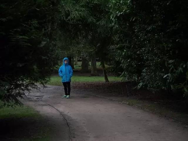 boy in turquoise coat among trees