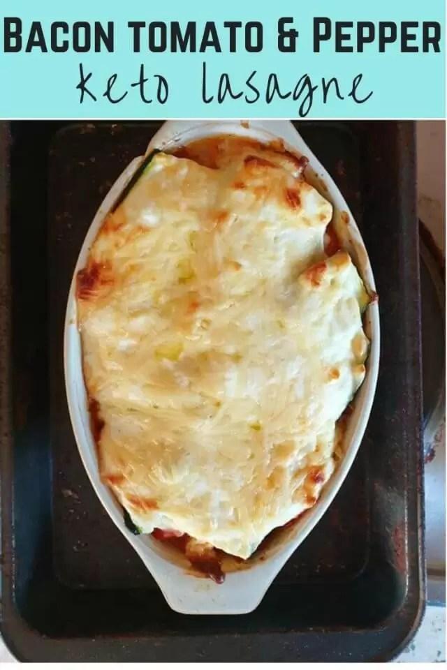 keto tomato bacon and pepper lasagne