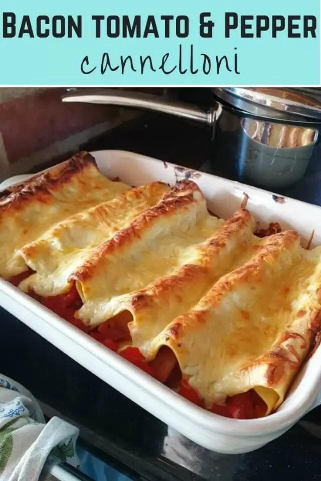 tomato bacon and pepper cannelloni