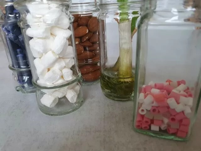 filled herbs and spices jars with different items