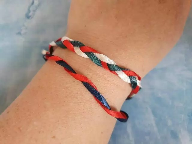ribbons used to twist and plait into bracelets