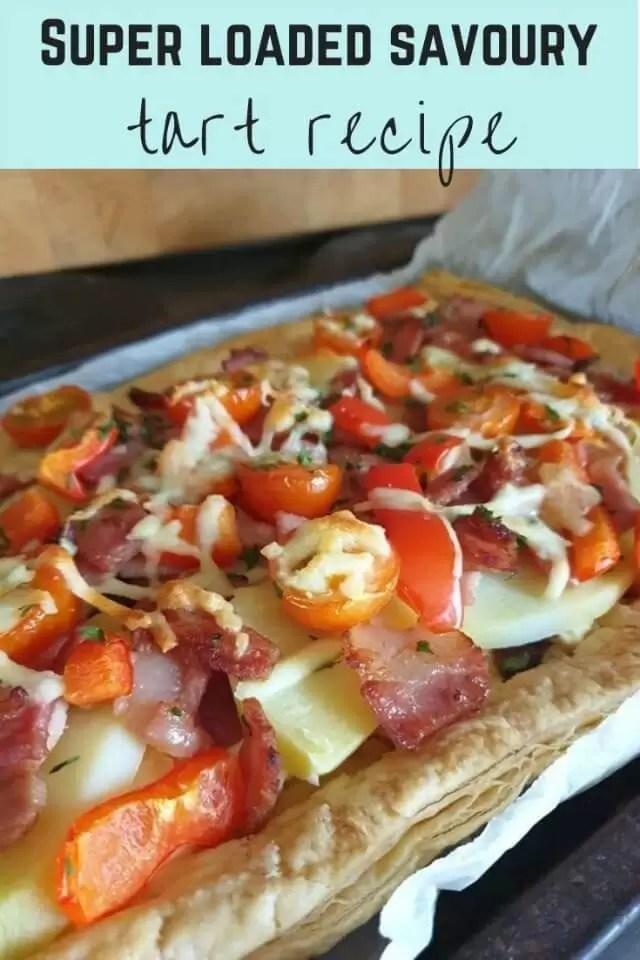 super loaded potato bacon and tomato savoury tart