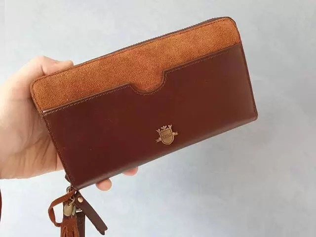 tan leather and suede Rydale clutch purse