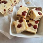 strawberry and cream fudge in bowl and slab