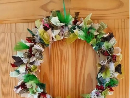 how to make a rag wreath tutorial
