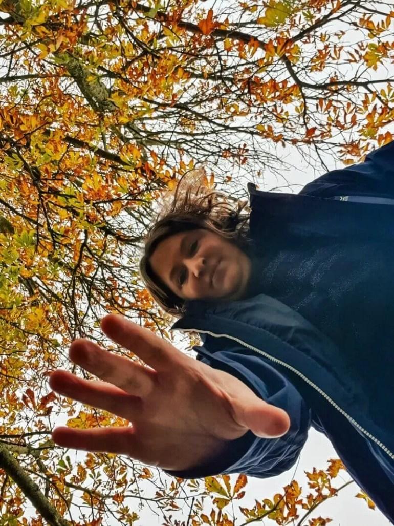 reaching down to the ground below autumn tree